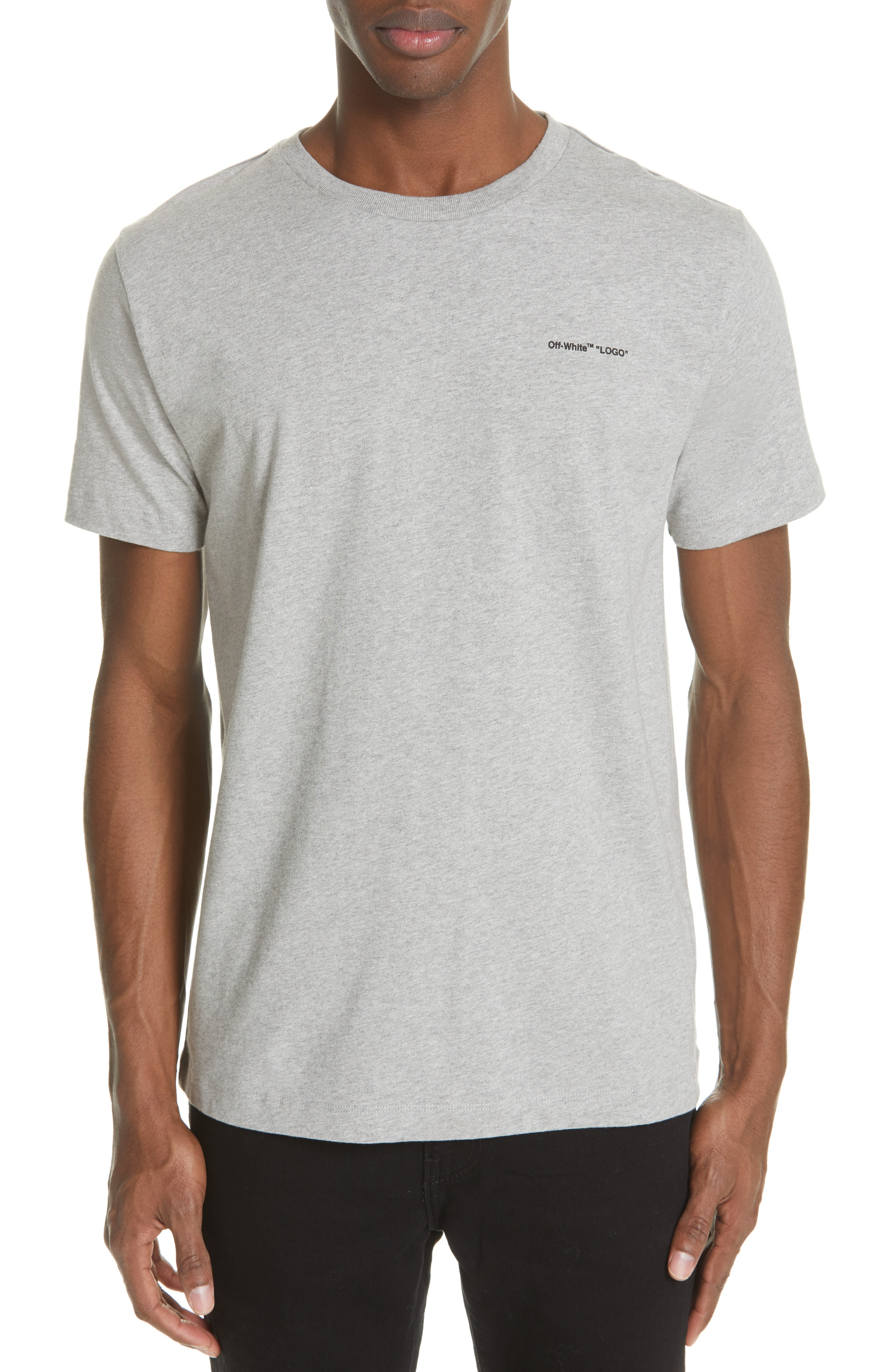 Mens Off White Slim Fit Logo T Shirt Size X Large Grey The