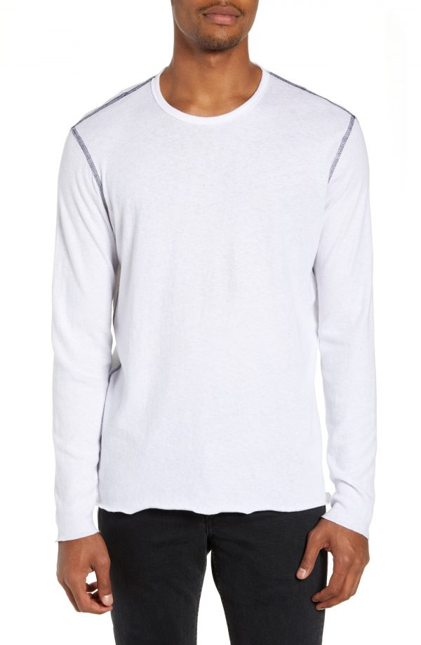Men's Rag & Bone Contrast Stitch Long Sleeve T-Shirt, Size Small - White