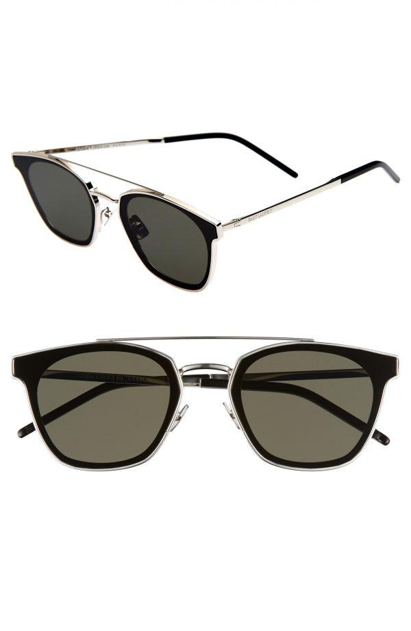 Men's Saint Laurent 61Mm Sunglasses - Silver