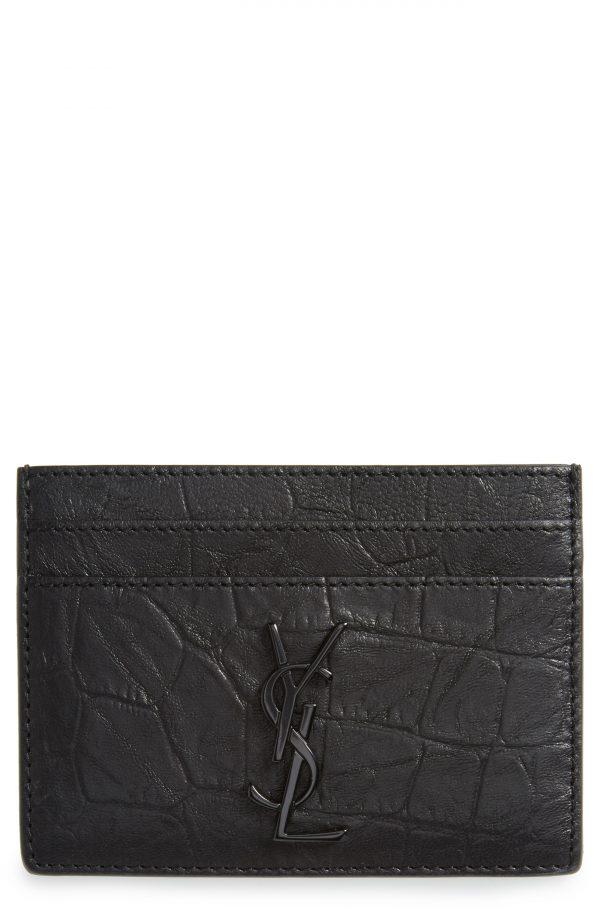 Men's Saint Laurent Croc Embossed Calfskin Leather Card Case -