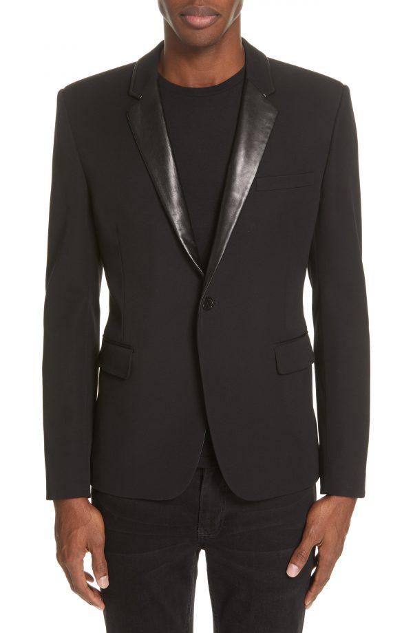 Men's Saint Laurent Leather Trim Blazer, Size 46 EU - Black