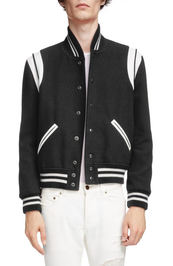 Men's Saint Laurent Teddy Wool Varsity Jacket, Size 48 EU - Black