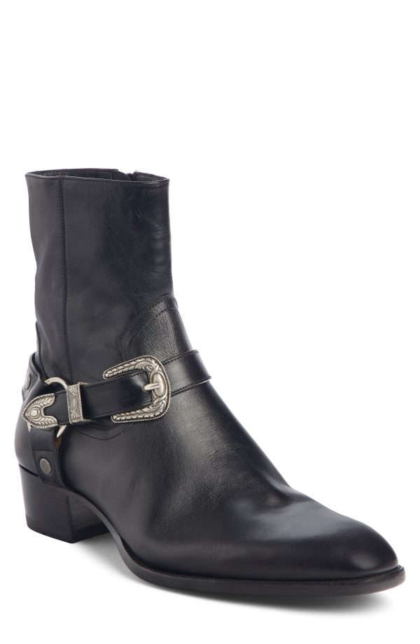 Men's Saint Laurent Wyatt Harness Boot, Size 7US / 40EU - Black