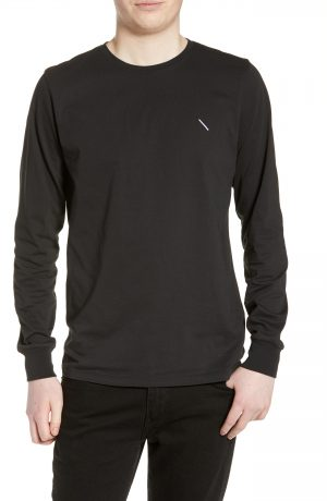 Men's Saturdays Nyc Slash Embroidered Long Sleeve T-Shirt, Size Small - Black