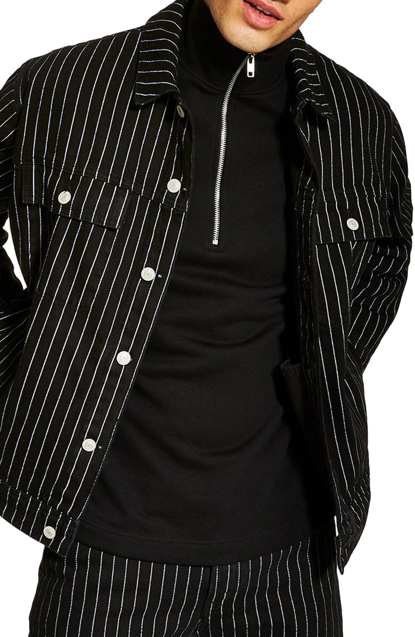 Men S Topman Pinstripe Oversize Denim Jacket Size Large Black