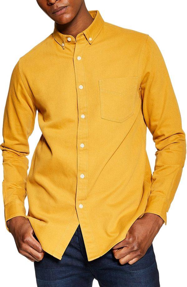Men's Topman Slim Fit Twill Shirt, Size Large - Yellow