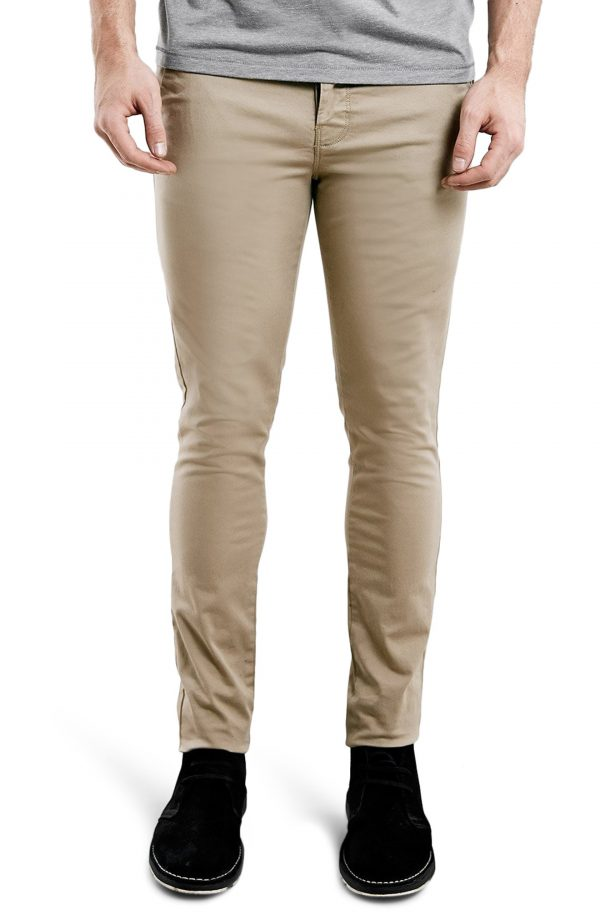 Men's Topman Stretch Skinny Fit Chinos, Size 32 x 34 - Beige