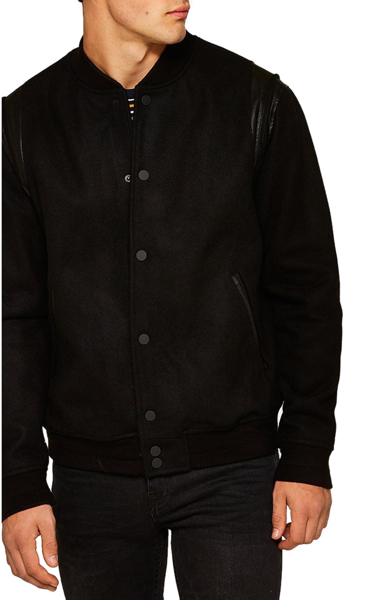 e1a5ab320 Men's Topman Wool Blend Varsity Jacket, Size Medium - Black