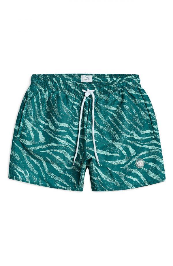 Men's Topman Zebra Print Swim Trunks, Size Large/X-Large - Blue