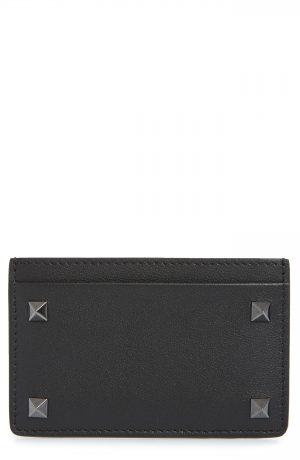 Men's Valentino Garavani Mini Rockstud Leather Card Case - Black