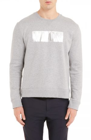 Men's Valentino Vltn Logo Sweatshirt, Size XX-Large - Grey