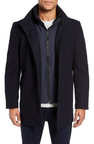 Men's Vince Camuto Classic Wool Blend Car Coat With Inset Bib, Size Large - Blue