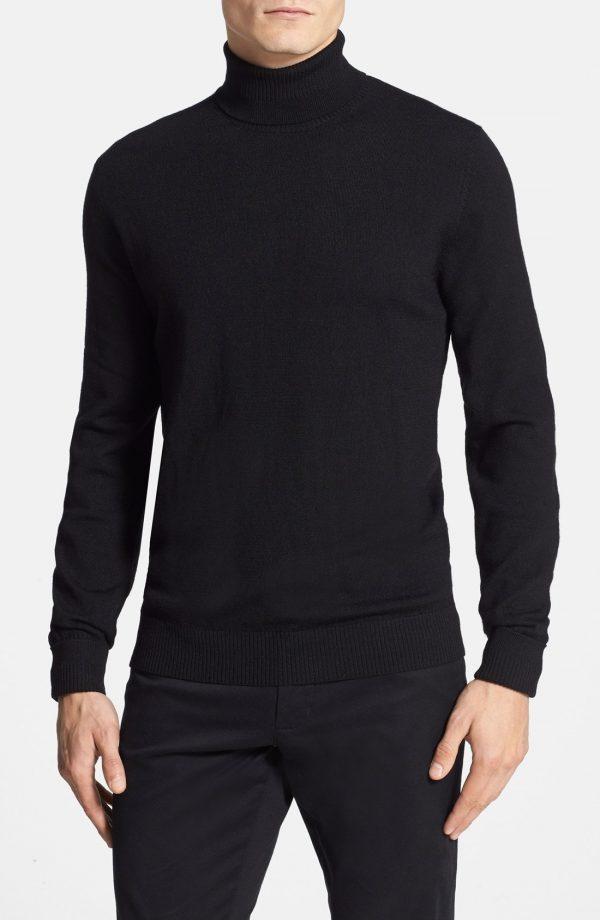 Men's Vince Camuto Merino Wool Turtleneck, Size X-Small - Black