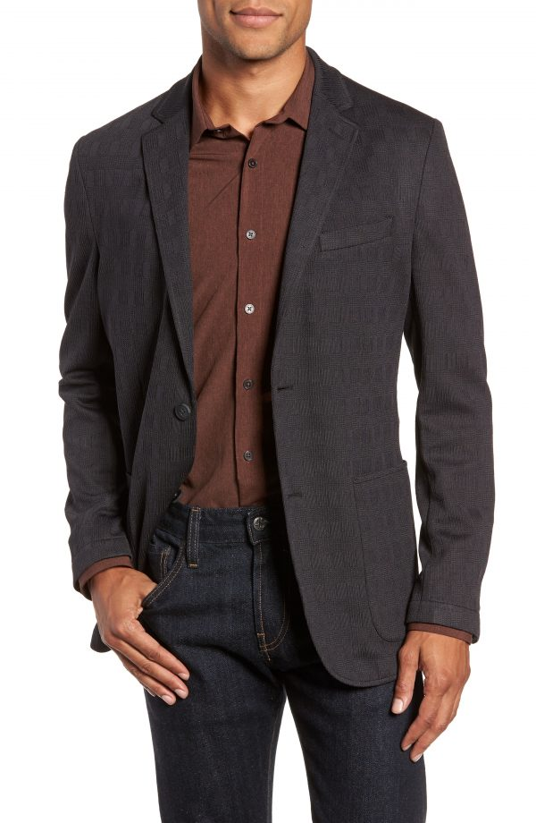 Men's Vince Camuto Slim Fit Stretch Knit Sport Coat, Size Large - Black