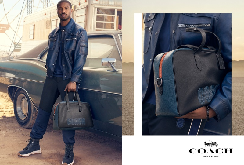 Sporting leather and leisurewear, Michael B Jordan appears in Coach's spring-summer 2019 campaign.
