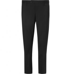 Mr P. - Black Cropped Stretch Wool-Blend Trousers - Men - Black