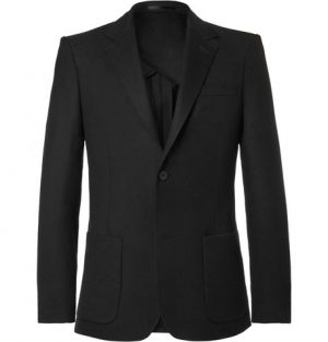 Mr P. - Black Unstructured Worsted Wool Blazer - Men - Black