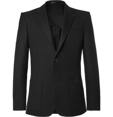Mr P. - Black Unstructured Worsted Wool Blazer - Men - Black