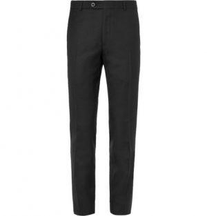 Mr P. - Black Worsted Wool Trousers - Men - Black