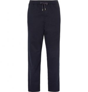 Mr P. - Brushed Stretch-Cotton Twill Drawstring Trousers - Men - Navy
