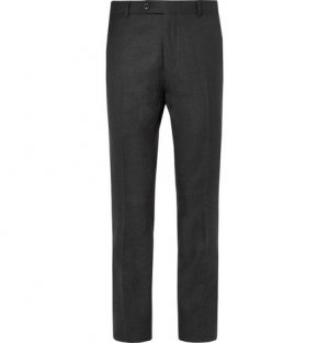 Mr P. - Grey Worsted Wool Trousers - Men - Gray