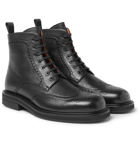 Mr P. - Jacques Full-Grain Leather Brogue Boots - Men - Black