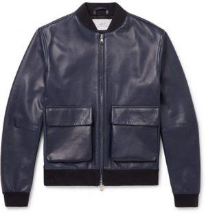 Mr P. - Leather Bomber Jacket - Men - Navy
