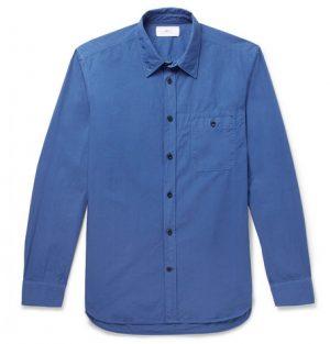 Mr P. - Slim-Fit Garment-Dyed Cotton-Poplin Shirt - Men - Blue