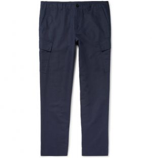 Mr P. - Slim-Fit Tapered Cotton and Linen-Blend Cargo Trousers - Men - Navy
