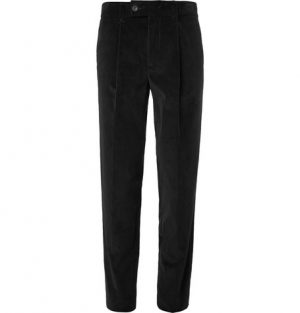 Mr P. - Slim-Fit Tapered Pleated Cotton-Corduroy Trousers - Men - Black