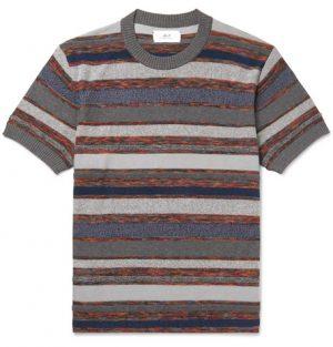 Mr P. - Striped Knitted Cotton-Blend T-Shirt - Men - Gray