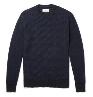 Mr P. - Textured Cotton-Blend Sweater - Men - Navy