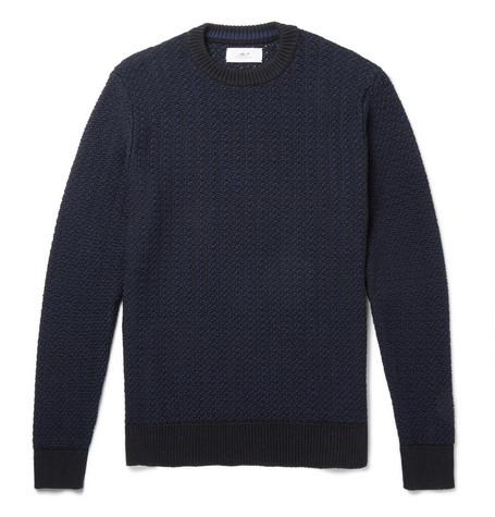 Mr P. - Textured Cotton-Blend Sweater - Men - Navy