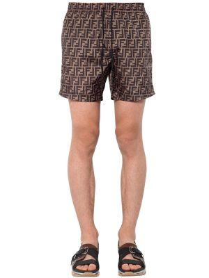 Nylon Logo Printed Swim Shorts