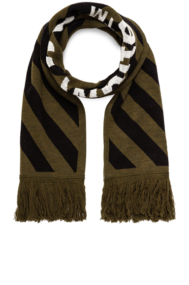 OFF-WHITE Arrow Scarf in Green.
