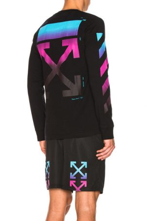OFF-WHITE Diagonal Gradient Long Sleeve Tee in Black. - size L (also in )
