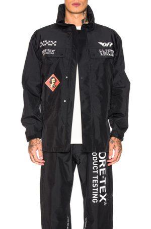 OFF-WHITE GORETEX 3/4 Zip Jacket in Black,White. - size L (also in )