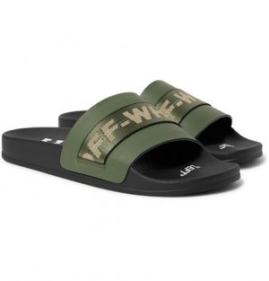 Off-White - Industrial Logo Webbing-Trimmed Rubber Slides - Men - Army green