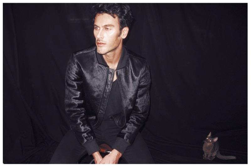 Posing with Kitty Inohep, Pascal wears jacket Calvin Klein, t-shirt Apriy, pants Saint Laurent.