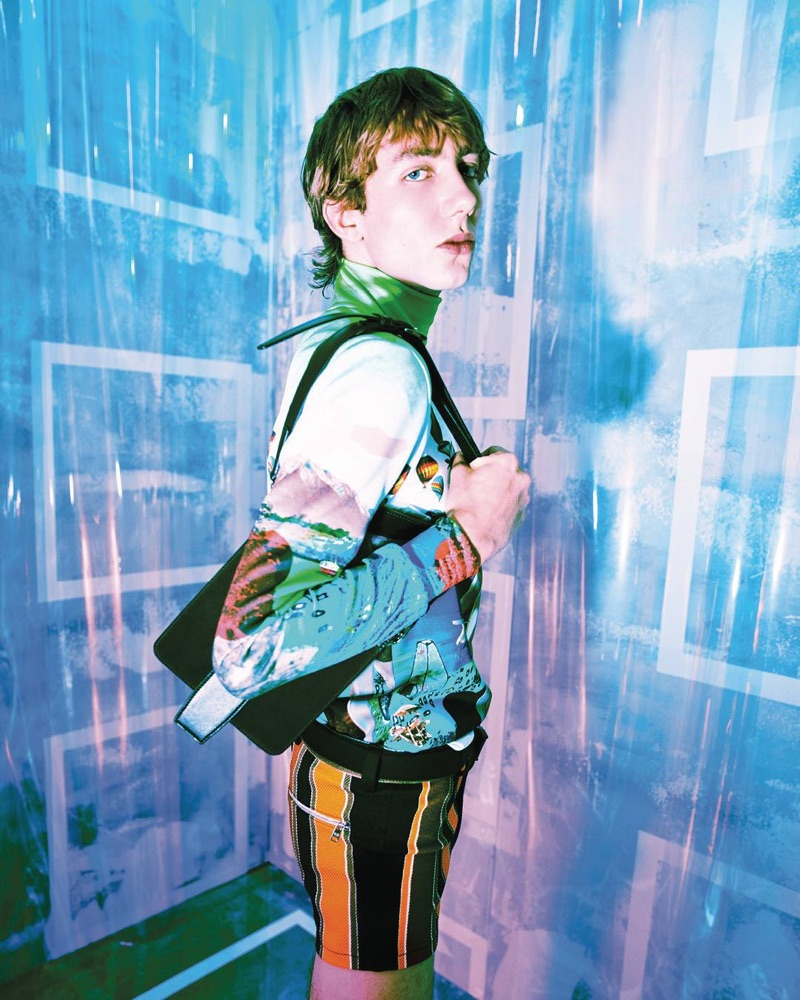Paul Hameline dons a colorful look from Prada's spring-summer 2019 menswear collection.