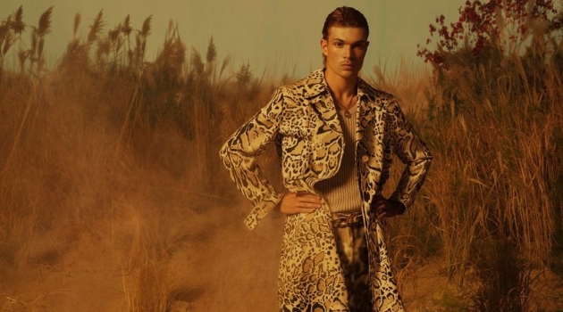 Luka Isaac sports a leopard print outfit for Roberto Cavalli's spring-summer 2019 campaign.