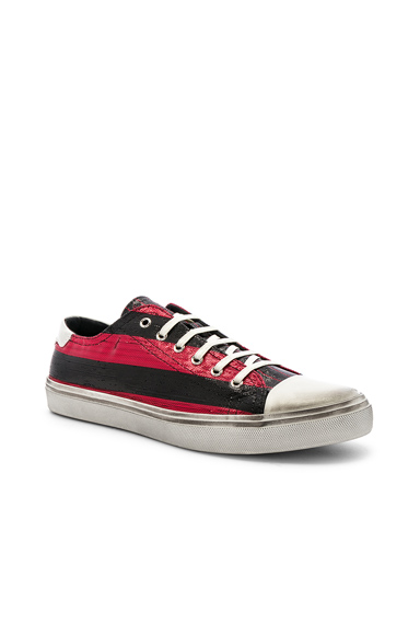 Saint Laurent Bedford Low Top Sneaker in Black,Red,Stripes. - size 45 (also in 41,43,44)