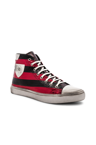Saint Laurent Bedford Patch Sneaker in Black,Red,Stripes. - size 41 (also in 42,43,44,45)