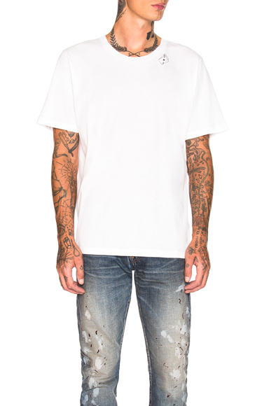 Saint Laurent Cards Tee in White. - size XL (also in S,M,L)