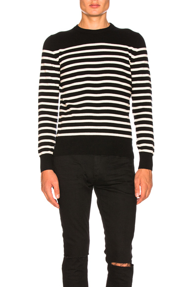Saint Laurent Cashmere Striped Sweater in Black,Stripes. - size M (also in S,XL)