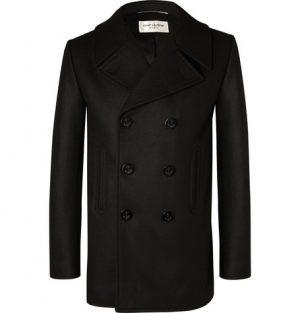 Saint Laurent - Double-Breasted Virgin Wool Peacoat - Men - Black