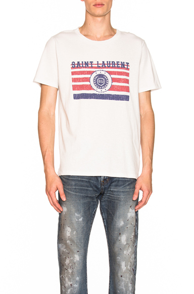 Saint Laurent League Tee in White. - size L (also in M,XL)