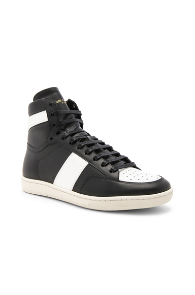 Saint Laurent Leather High Top Sneakers in Black. - size 40 (also in 40.5,41,41.5,42,42.5,43,43.5,44,44.5,45)