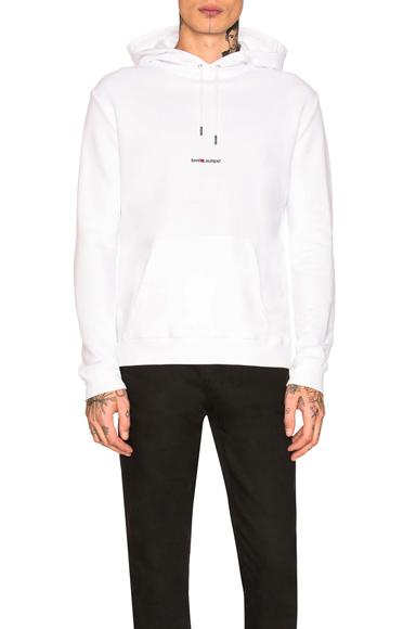 Saint Laurent Logo Hoodie in White. - size XL (also in S,M,L)