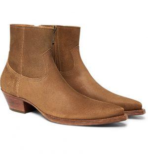 Saint Laurent - Lucas Brushed-Suede Boots - Men - Tan